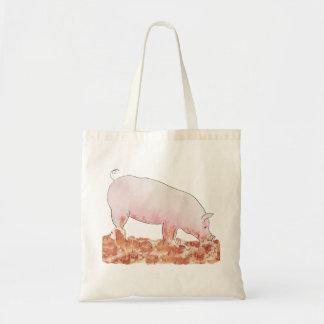 Cute Pig in Mud Funny Watercolour Animal Art Tote Bag