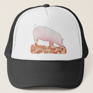 Cute Pig in Mud Funny Watercolour Animal Art Trucker Hat