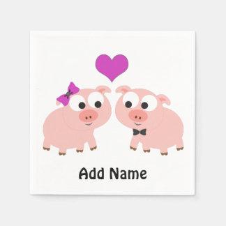 Cute Pig Love Paper Napkin