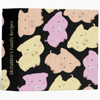 Cute Pig Piggy Name Recipe Clippings Binder