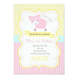 Cute Pig / Piggy Pastel Birthday Invitation