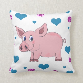 Cute Pig Pillow Hearts and Flowers