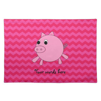 Cute pig pink chevrons placemats