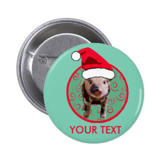 Cute Pig Santa - Teal and Red 6 Cm Round Badge