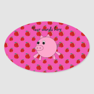 Cute pig oval sticker