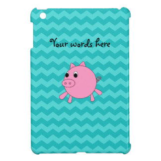 Cute pig turquoise chevrons cover for the iPad mini