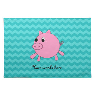 Cute pig turquoise chevrons placemat