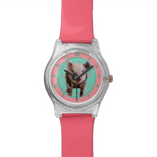 Cute Pig - Turquoise & Melon Swirls Watch