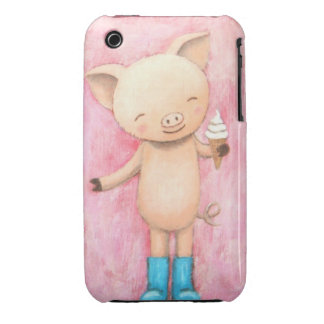 Cute Pig with Ice Cream Pink iPhone 3/3GS Case