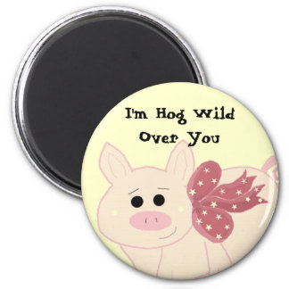 Cute Pig with Saying 6 Cm Round Magnet