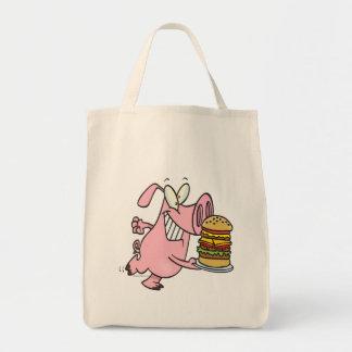 cute pig with triple cheeseburger tote bag