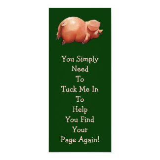 "Cute Piggy BOOK MARK: Original Art: Rhyme 4"" X 9.25"" Invitation Card"