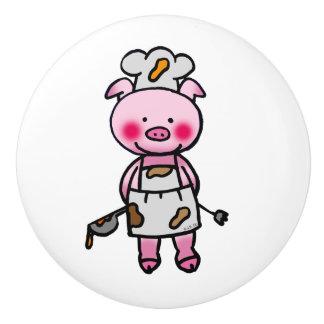 cute piggy chef ceramic knob