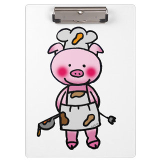cute piggy chef clipboard