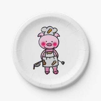 cute piggy chef - kitchen 7 inch paper plate