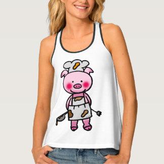 cute piggy chef tank top