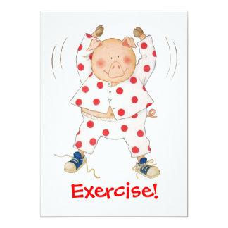Cute Piggy Exercising 13 Cm X 18 Cm Invitation Card