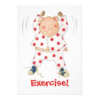 Cute Piggy Exercising Personalized Invites