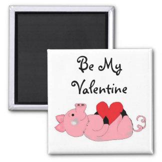 Cute Piggy Valentine Square Magnet