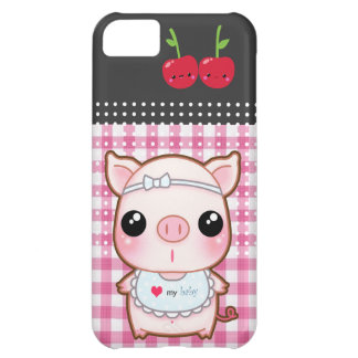 Cute piggy with kawaii cherries iPhone 5C case