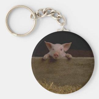 Cute Piglet Basic Round Button Key Ring
