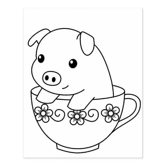 Cute Piglet Pig in a Teacup Colouring Page