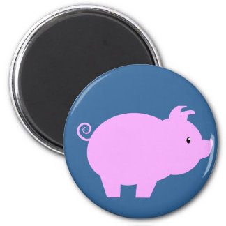 Cute Piglet Silhouette 6 Cm Round Magnet