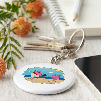 Cute pigs on the beach. basic round button key ring