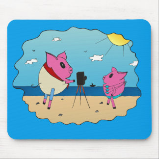 Cute pigs on the beach. mouse pad