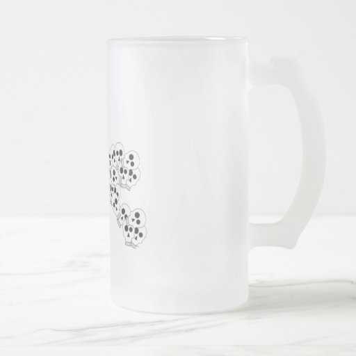 CUTE PILE OF SKULLS IN BLACK AND WHITE COFFEE MUGS