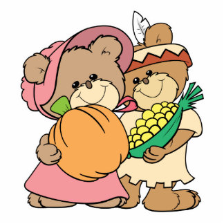 cute pilgrim and indian thanksgiving teddy bears photo sculpture