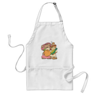 cute pilgrim and indian thanksgiving teddy bears standard apron