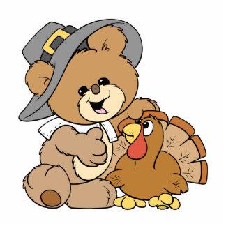 cute pilgrim teddy bear with turkey photo sculptures