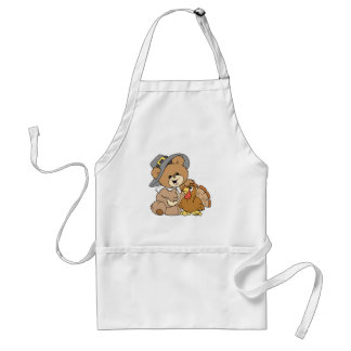 cute pilgrim teddy bear with turkey standard apron