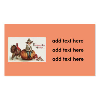 Cute Pilgrim Turkey Pumpkin Fall Leaves Pack Of Standard Business Cards