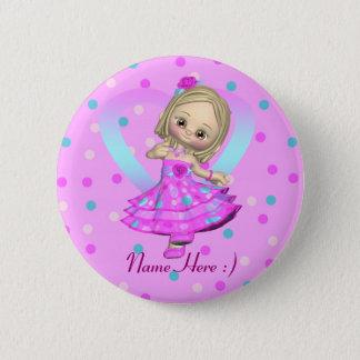 cute pin badge little girl in polka dot dress