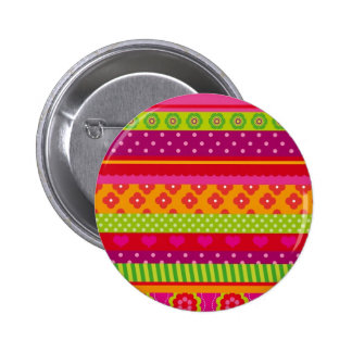 Cute pin up button with stripes, dots and flowers