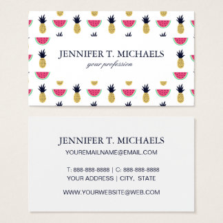 Cute Pineapple & Watermelon Doodle Pattern Business Card
