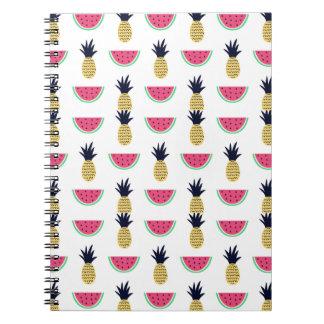 Cute Pineapple & Watermelon Doodle Pattern Notebook