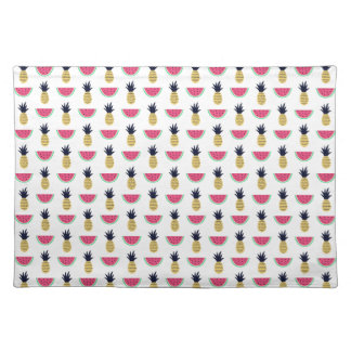 Cute Pineapple & Watermelon Doodle Pattern Placemat