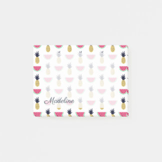 Cute Pineapple & Watermelon Doodle Pattern Post-it Notes