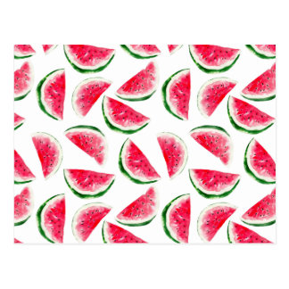 Cute Pineapple & Watermelon Pattern Postcard