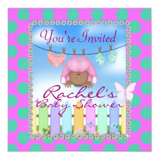 CUTE PINK AFRICAN AMERICAN BABY SHOWER INVITATION