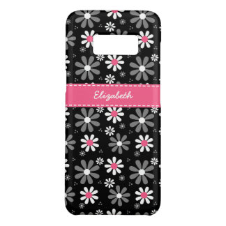 Cute Pink and Black Girly Mod Daisies With Name Case-Mate Samsung Galaxy S8 Case