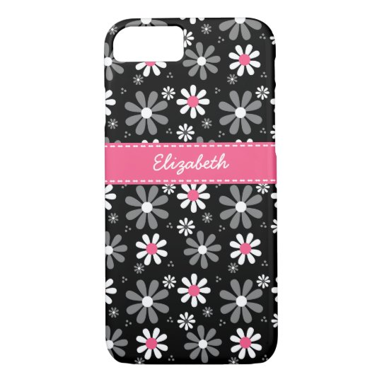 Cute Pink and Black Girly Mod Daisies With