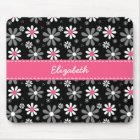 Cute Pink and Black Girly Mod Daisies With Name Mouse Mat