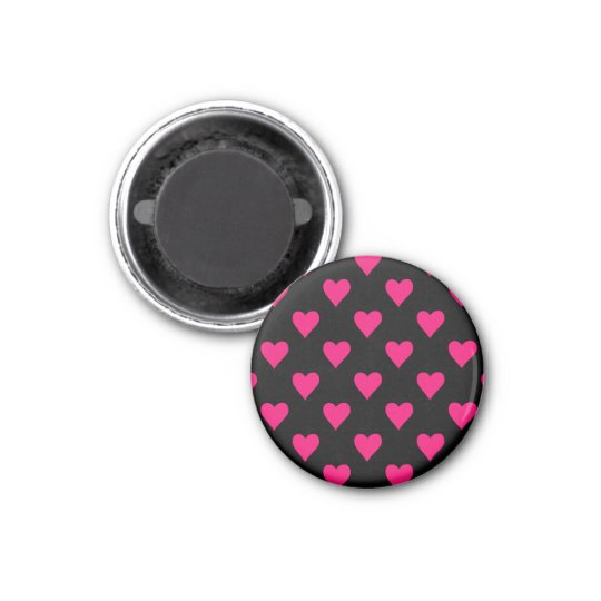 Cute Pink and Black Heart Pattern 3 Cm Round Magnet