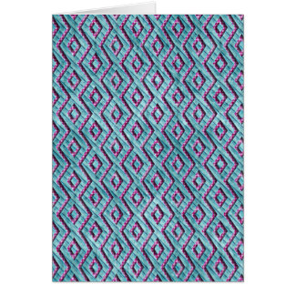 Cute Pink and Blue Aztec Checkered Stripes Card