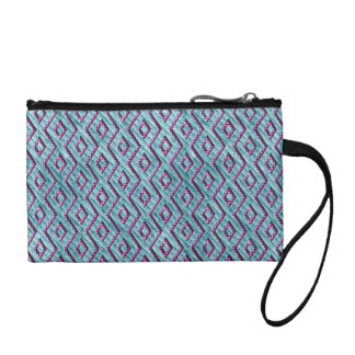 Cute Pink and Blue Aztec Checkered Stripes Coin Purse