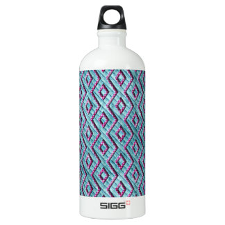 Cute Pink and Blue Aztec Checkered Stripes Water Bottle